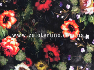 Трикотаж, колір чорний з квітами, ширина 150 см