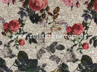 Трикотаж, колір світло-сірий з трояндами, ширина 150 см