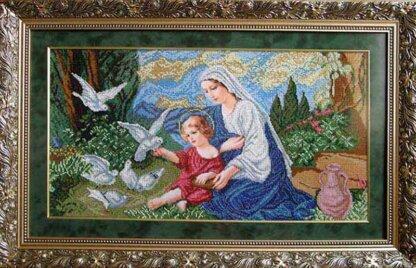 Канва для вишивання бісером на релігійну тематику - Богородиця і голуби