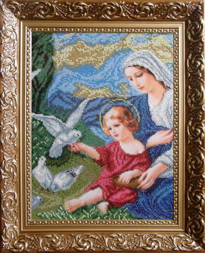 Канва для вишивання бісером на релігійну тематику - Богородиця і голуби (мала)