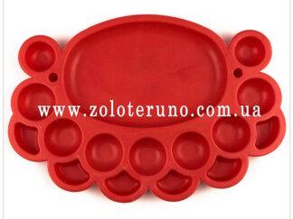 Органайзер для бісеру овальний (16 комірок) червоний
