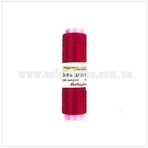Нитки для вышивания бисером Ariadna Б-91 100м, цвет красный