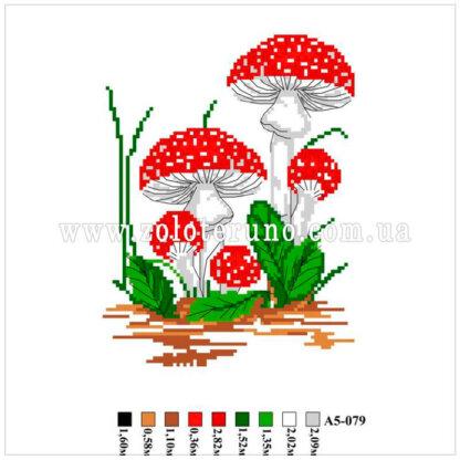 Набір для вишивання нитками А5-079 Мухомори