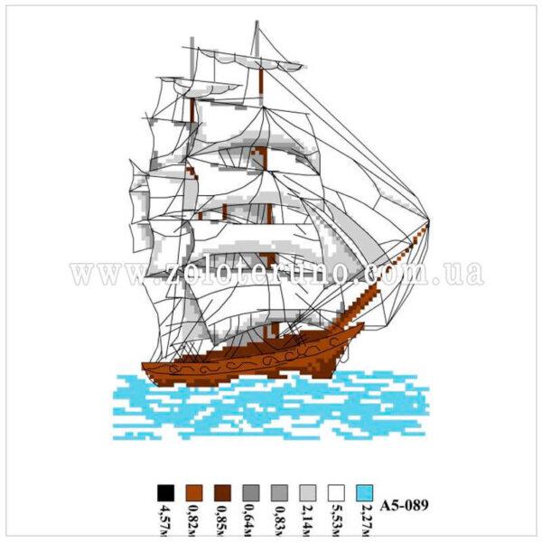 Набір для вишивання нитками вишити кораблик А5-089