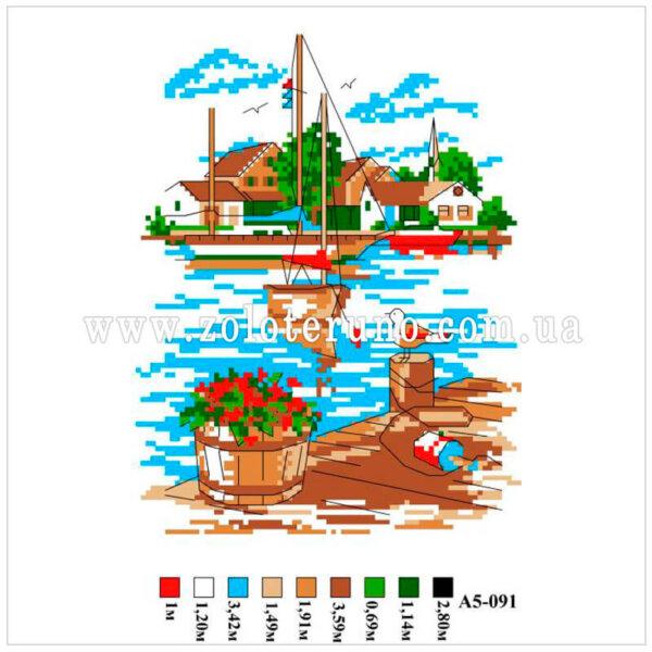 Набір для вишивання нитками Морський берег А5-091
