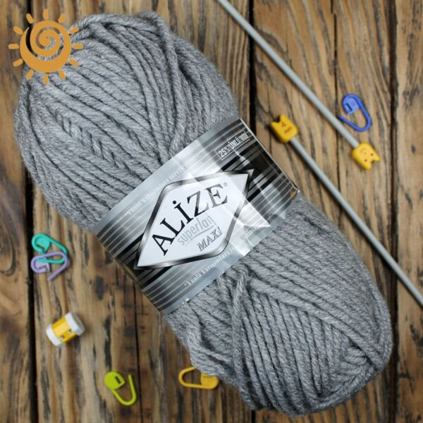 Alize SuperLana Maxi 21 сірий меланж 1