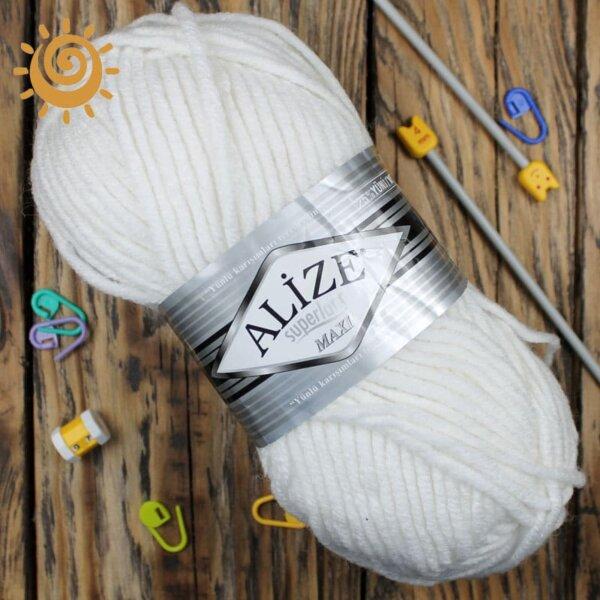 Alize SuperLana Maxi 55 білий 3