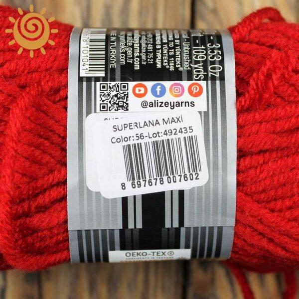 Alize SuperLana Maxi 56 червоний 1