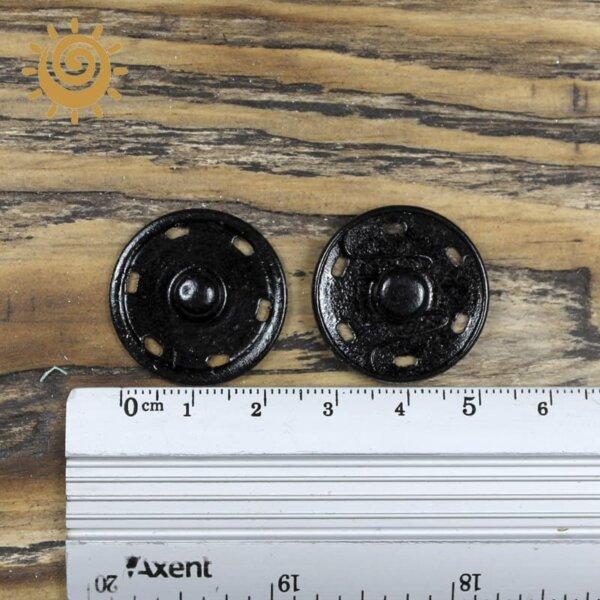 Кнопка пришивна металева 24 мм, колір чорний 2
