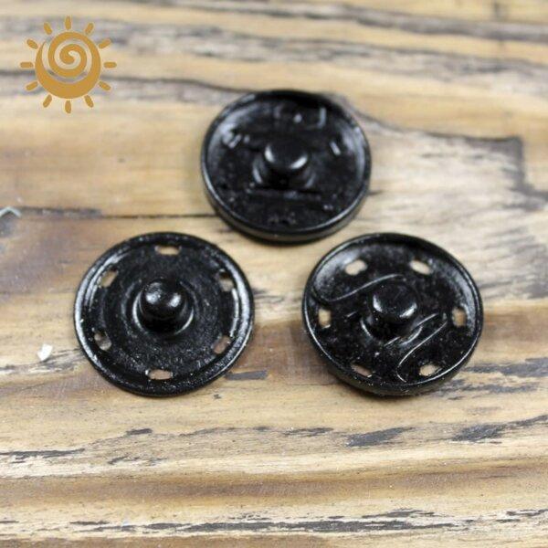 Кнопка пришивна металева 24 мм, колір чорний 1