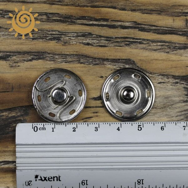 Кнопка пришивна металева 24 мм, колір срібний 1