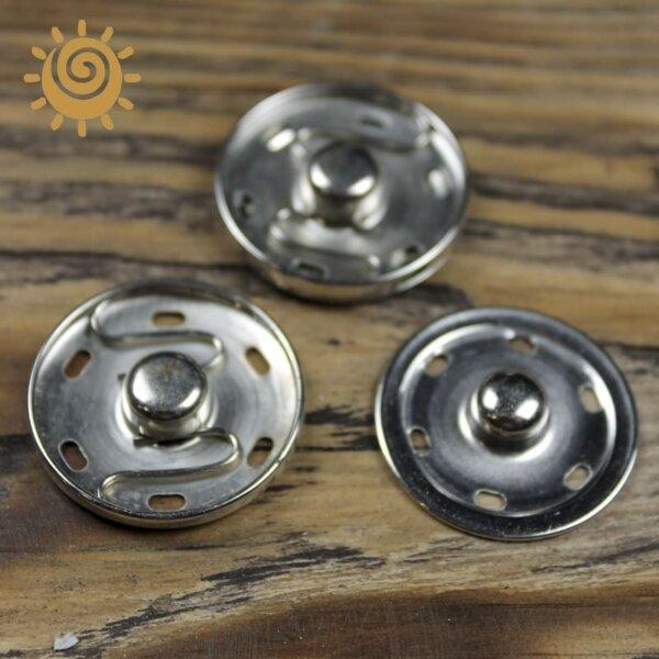 Кнопка пришивна металева 30 мм, колір срібний 1