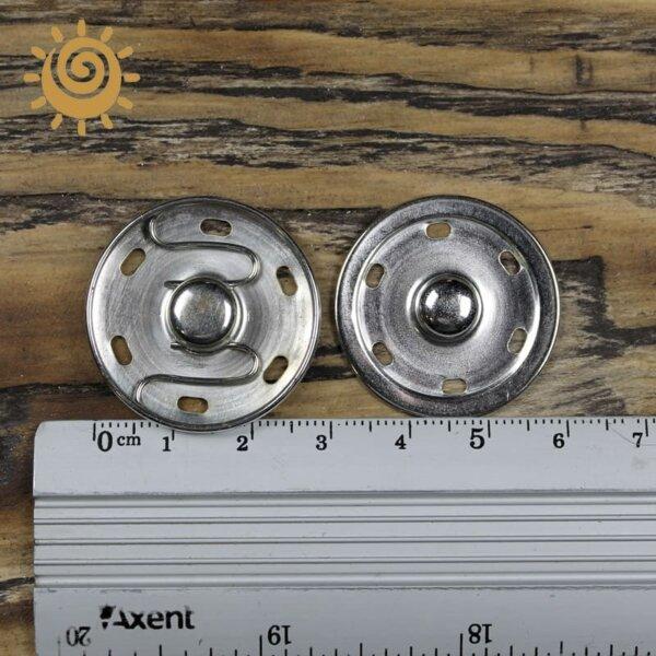 Кнопка пришивна металева 30 мм, колір срібний 2