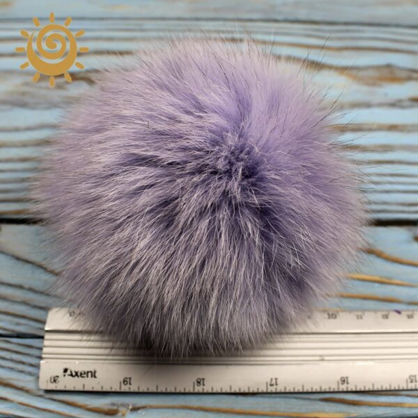 Помпон, хутро песця, колір світло-фіолетовий, 10 см 1