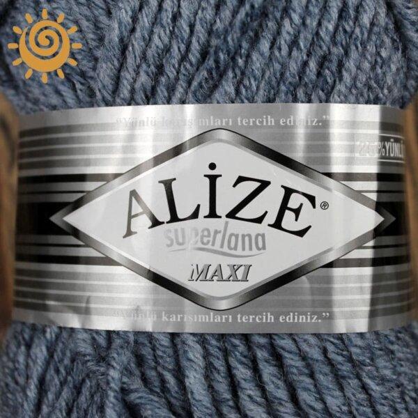 Alize SuperLana Maxi 806 синій жаспе 1